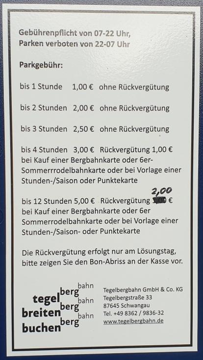 Parkgebühren Tegelberg
