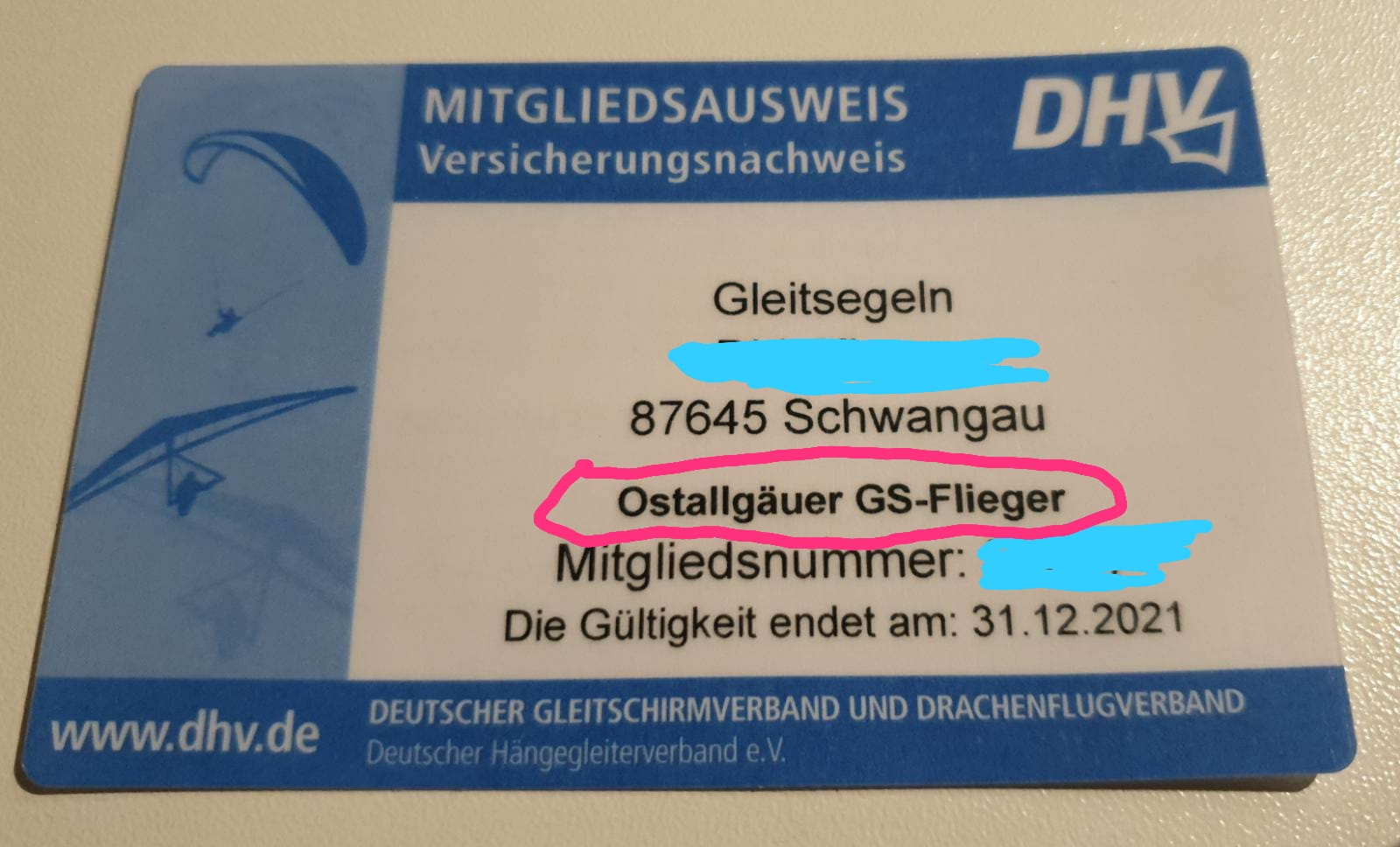 DHV-Mitgliedsausweis OAL-GS